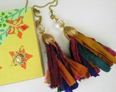 Chain Pull Pair for Ceiling Fan or Light, Sari RibbonTassle Fan Pull with Crystal Accents and Bright Brass Tulip Cap