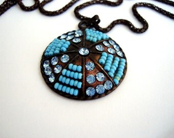 Blue Beaded Sea Urchin Necklace  Beach Jewelry, Vintage Sea Urchin Necklace Bronze Pendant