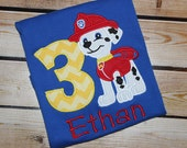 Personalized Paw Patrol Birthday Shirt with Number and Marshall