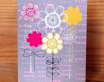 Bright Blooms Greetings Card.