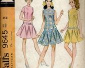 1960's McCall's Sewing Pattern No. 9645 - Dropped Waist Teen Dress with Circular Skirt , School Girl Dress  Bust 35