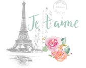 Shabby Chic Wall Decor, Shabby Chic Printable, Je T'aime Print, I Love You Print, French Country Printable, Shabby Chic Wall Art, Printable