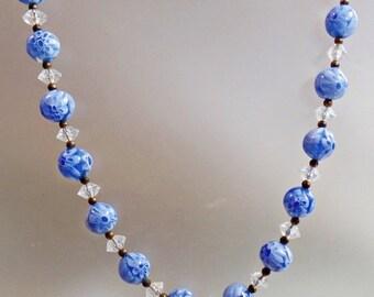 SALE Vintage Murano Glass Necklace. Baby Blue Clear Crystal Millefiori Glass Necklace.  Venetian Italian Art Glass Bridal Wedding