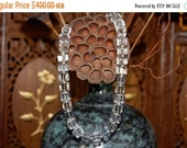 ON SALE Vintage Genuine Chunky Square Rock Crystal Necklace