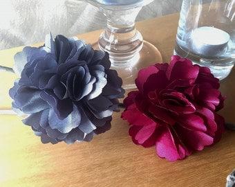 9 Pieces Romantic Burgundy Grey Cream Peony Satin Flowers Decor.Rustic Baby Shower Centerpiece.Fall Wedding Bridal Shower Decoration
