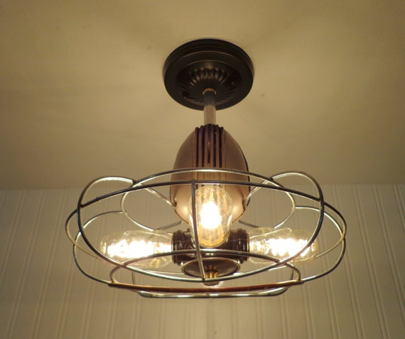 Westinghouse vintage fan cage ceiling light shown by for Repurpose ceiling fan motor