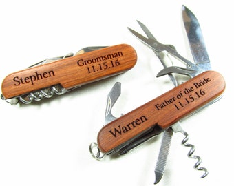 Set of 5 Multi Function Multitool Knives, Etched Weddng Party Gifts, Engraved Names, Gifts for Him, Custom Swiss Knife, Usher, Ring Bearer