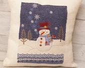 Snowman Pillow, Burlap Christmas Decor, Holiday Decoration, Throw Pillow, Accent Pillow, Gifts for Her
