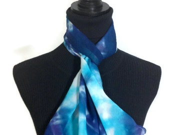 Sky Blue and Navy Hand Dyed Silk 11x60 inches - 27.94x152.4 cm Chiffon
