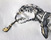Embroidered Monkey Smoking With Pipe - SteamPunk - Madmen - Framed (Plexi) Black Matt and Hand Stitched