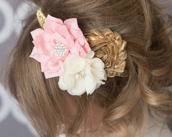 Pink elastic headband, pink flower headband, gold headband, gold glitter headband, baby headband, cake smash outfit, girl birthday gift