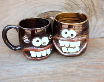 Mr and Mrs Mug Gift Set. His and Hers Coffee Cup Pair. Wedding Anniversary Ceramic Mugs. Black Coffee Cups. Man and Woman Face Mugs.