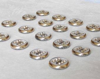 20  very pretty 2-hole  glass buttons with beautiful modern style surfaces and fine golden trim - (15.5 mm - 5/8 in.)