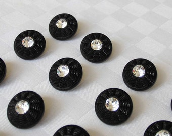 16 fabulous black glass buttons each with a beautiful rhinestone -  (17.5mm - 11/16in.)