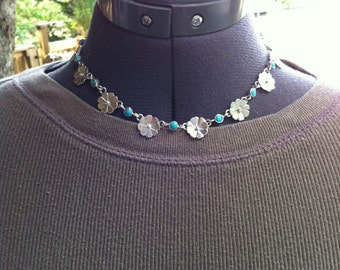 Sterling Flowers & Turquoise Dot Necklace