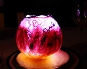 LED Lamp, Hand Felted Lantern, Night Light, Pink Glow Lamp