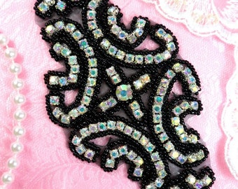 "XR25 Aurora Borealis Black Backing AB Rhinestone Applique Black Beaded 6"" (XR25-bkab2)"