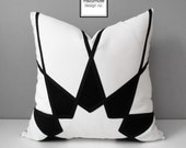 Art Deco Outdoor Pillow Cover, Modern Black & White Geometric Pillow Case, Decorative Throw Pillow Cover, Sunbrella Cushion Cover, Mazizmuse