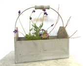Rustic Farmhouse Wood Tote with Handle Weathered Gray Finish