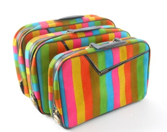 Vintage AD Sutton & Sons Suitcases • 1960s Zippered Soft Sided Luggage • Set of 3 Nesting Bold Stripes Made in Japan