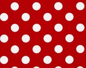 BTY Riley Blake Designs Medium Red and White Polka Dots Fabric BTY