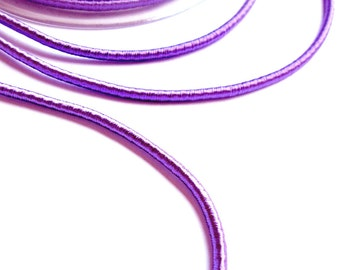 Wrapped silk cord, satin cord, lavender / lilac, 1.4 meters