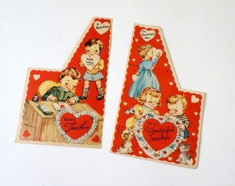 Vintage 1950s Valentines Card for Teacher with Envelopes / Set of 2 Unused, Boy and Girl, School Room