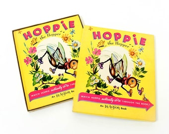 Rare Vintage 1950s Childrens Book / Hoppie the Hopper In-Action Book in Box 1951 VGC / Watch the Grasshopper Hop Through the Pages