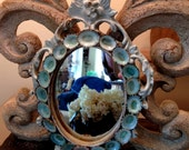 French Style Oval Mirror Aqua Limpets Romantic Baroque