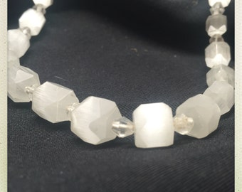 Vintage Frosted Faceted Glass or Quartz Beaded Necklace