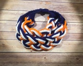 Denver Broncos - Denver Broncos scarf - Superbowl scarf - Double Braided Cowl - Braided Necklace Cowl - Braided Scarf - Braided Button Scarf