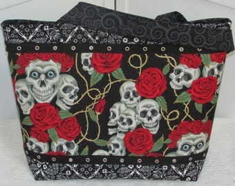 Skulls and Roses Large Tote Tattoo Red and Black Purse  Alternative Fashion Market Bag Gothic Skull Purse Diaper Bag