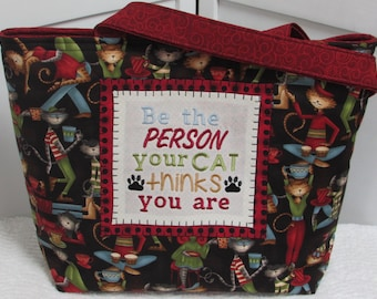 Hep Cat Large Tote Bag Be The Person Your Cat Thinks You Are Purse Cool Cat Shoulder bag Coffee House Cat Purse Ready To Ship