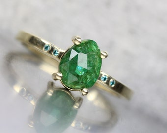 Delicate Rose Cut Emerald Blue Diamond Engagement Ring 14K Yellow Gold Modern Minimalist 4 Prong Setting Unique Bridal Band - Estrella Verde
