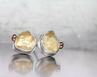 Raw Tumbled Citrine Stud Earrings Silver 14K Rose Gold Pale Golden Yellow Gemstone Glow Autumn November Birthstone Gift Idea - Honey Buttons