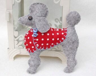 Poodle Christmas ornament, Felt dog ornament, Poodle ornament, Dog Christmas Ornament, Handmade felt Poodle, Felt poodle ornament, Mimi.