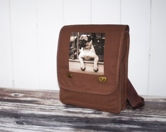 Joyriding Pug - Messenger Bag - Field Bag - School Bag - Java Brown - Canvas Bag