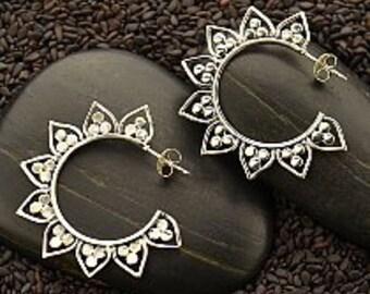 Sterling Silver Hoop Earrings With Lotus Petals decoration, 925 Silver earrings, Lotus earrings, Hoop earrings, Yoga Jewelry, Flower earring
