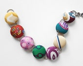Multicolor Reclaimed Necktie Button Bracelet