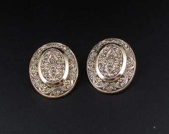 Etched Aluminum Earrings, West Germany Earrings, Oval Earrings, Gold Earrings, Engraved Earrings