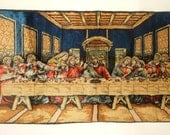 Vintage Velvet Wall Tapestry • The Last Supper • 38 X 19 inches • Made in Italy