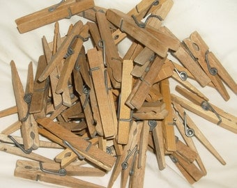 Lightly Worn Wooden Clothespins • 50 count