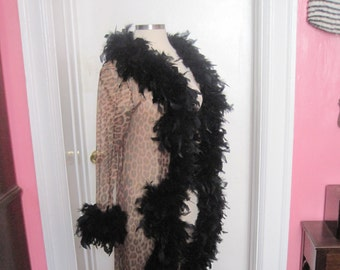 Long Leopard Boudoir Robe with Feather Boa Trim One Size fits most Lingerie