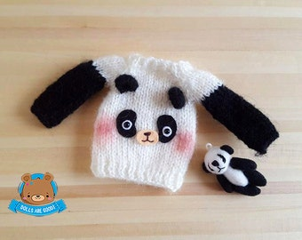 パンダ panda bear sweater jumper dress jersey for Neo Blythe Pullip Licca Obitsu mohair PRE-ORDER