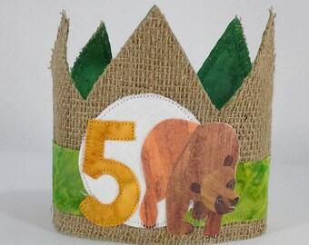 Bear birthday crown, fifth birthday crown, G221, one, birthday photo prop