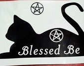 Black Cat, Pagan Vinyl Decal, Pentacle,  Blessed Be, Pagan, Wiccan, Pentacle, Sticker