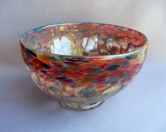 Hand Blown Art Glass Fruit  Bowl on Foot, Chalcedony and Red Multi Color.