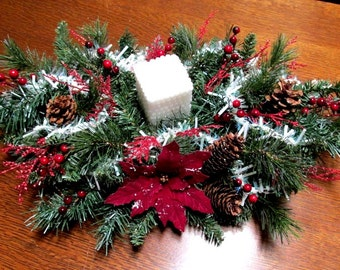 Christmas Candle Arrangement / Red and White Table Top Arrangement /  Floral Centerpiece