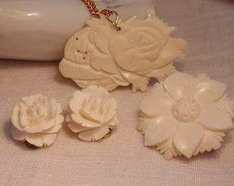 Vintage Hand Carved Bone Jewelry Lot Bone brooch Bone Flower Brooch Bone Earrings Bone Necklace