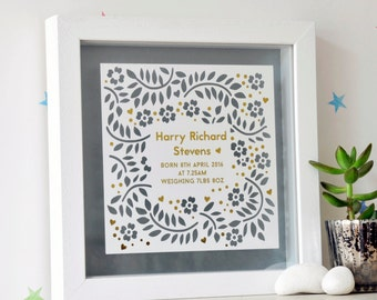 Personalized Framed Papercut Gift for Baby with Gold, new born gift with gold, gift for new born, nursery decor, gift for new baby
